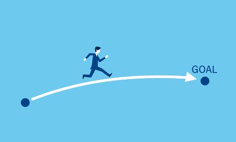 ビジネス、目標達成への最短の道筋のイメージ、走るビジネスマンのイラスト