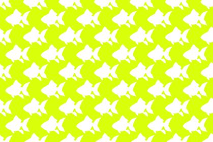 金魚のシルエットの黄緑色の背景イラスト