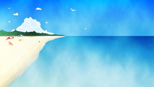 夏のビーチと青い海の風景イラスト 水彩 背景素材