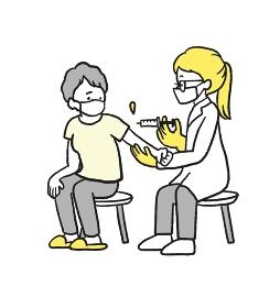 ワクチン接種の注射を打つ高齢者のイラスト