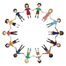 手を繋いで輪になる色んな人種の子供たちのSDGsイメージのイラスト