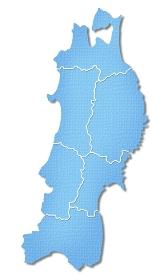 ペーパークラフト調の東北地方の地図