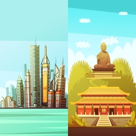 Hong Kong Vertical Banners. Hong kong vertical banners with colorful pictures of traditional east architecture and statue of big buddha flat vector illustration