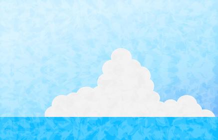 夏空のイラスト、海と青空と入道雲