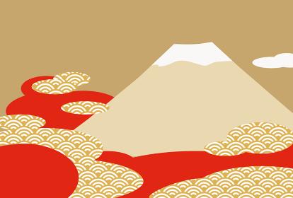 富士山のおめでたい新春の背景イラスト