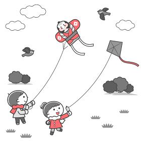 凧あげをする子どもたち・風景 / 2色