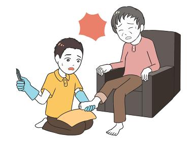 高齢女性のフットケア 深爪 男性介護士