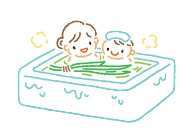 子供の日・菖蒲湯に入る親子のイラスト