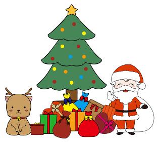 サンタクロースとトナカイとクリスマスツリーとプレゼントの箱を