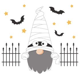 ハロウィンのミイラの仮装をした北欧の小人のキャラクター