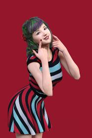 緑の髪の毛に紫のメッシュが入ったヘアスタイルのさわやかな色合いの縞模様のワンピースを着た女性が両方の人差し指で自分の顔を指さすポーズ