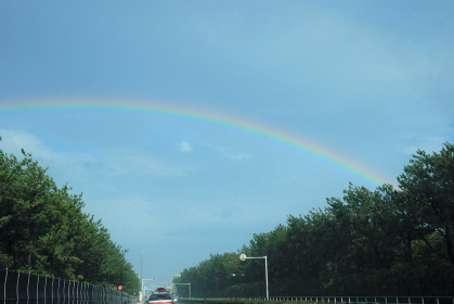 134号線状に出た虹