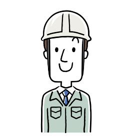 イラスト素材:作業服を着た若い男性、笑顔
