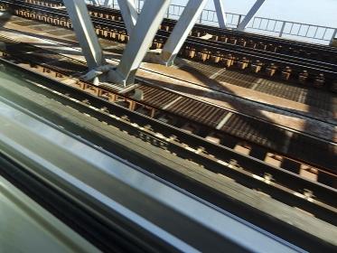 淀川を渡る電車の鉄橋とレール