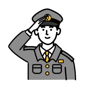 男性 若い 警察官 ベクター ポップ 敬礼