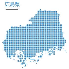広島県の詳細地図中国地方 都道府県別ドット表現の地図のイラスト ベクターデータ