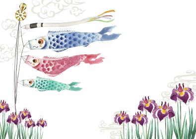 端午の節句 子供の日 こいのぼり 背景 水彩 イラスト