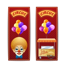 Two vertical circus banners. Two vertical circus banners with clown balloons and ice cream cart on the red background with dots isolated vector illustration