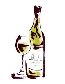 白ワインのグラスとボトルの手描きイラスト