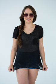 Woman in black t-shirt and hot pants