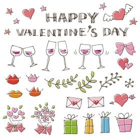 バレンタインの手書きイラスト素材(ハート、ワイングラス、文字、ラブレター、ギフトボックス、花束)