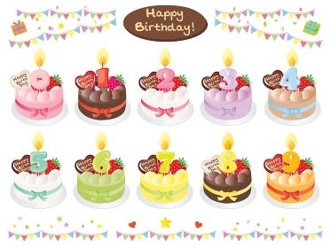 カラフルなお誕生日ケーキと数字の蝋燭のセットイラスト