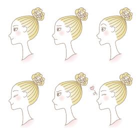 いろいろな表情をするシニヨンヘアの女性の横