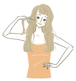 ロングヘアの笑顔の女性
