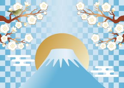 うぐいす 富士山 梅 うめ 花 春 背景 コピースペース イラスト素材