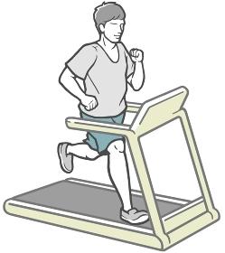 スポーツジムでランニングマシンを使って走る若い男性