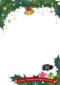 クリスマスカード 柊、ベル、プレゼント クリスマスイメージ 水彩イラスト(縦長 A3・A4比率)