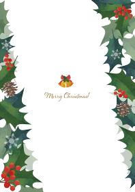 クリスマスフレーム 柊の飾り枠 左右斜めに装飾 水彩イラスト ロゴ入り(縦長 A3・A4比率)