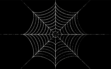 ハロウィンやホラーのデザイン向け 蜘蛛の巣、黒背景