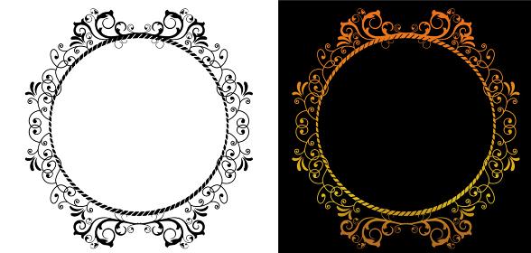 アンティーク バロック調の飾り罫イラストセット 飾り囲み バックグラウンド ベクターデータ
