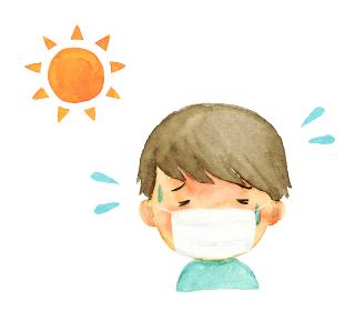 熱中症 マスクをした男の子