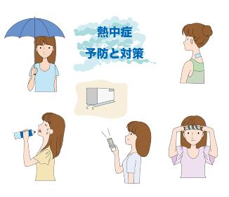 熱中症の予防と対策のイラストセット