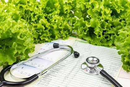 健康診断結果 聴診器 医療イメージ