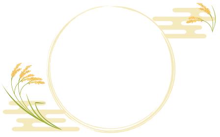 実った稲と丸フレームのイラスト、和風背景