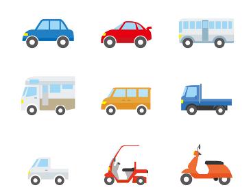シンプルな自動車のアイコン_イラストセット12種乗用車スポーツカー,キャンピングカー