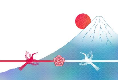 ハガキ 日の出富士に水引の鶴と梅のイラスト