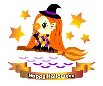ハロウィン素材 魔女の仮装をしているアマビエさん(日本の妖怪) イラスト ベクター
