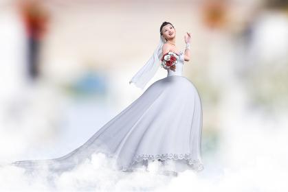 ブーケを持った純白のウエディングドレスを着た花嫁が笑顔で上を見上げながら式場内を歩く