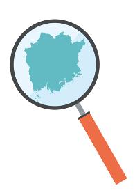 虫眼鏡ルーペ拡大鏡と岡山県の詳細地図中国地方 都道府県別地図のイラスト ベクターデータ