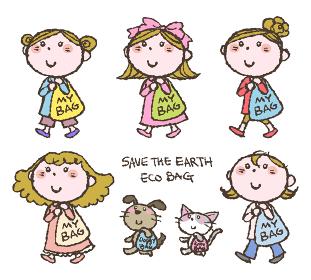 マイバッグ、エコバッグを持ち歩く手描きの可愛い女の子と犬と猫