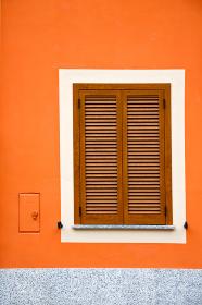 cavaria varese italy abstract  window      wood venetian blind in the concrete orange