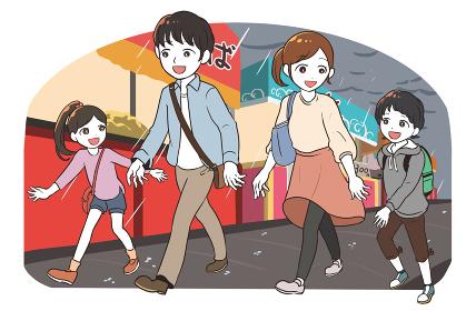 縁日に出かける家族(雨)