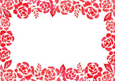 赤いバラのフレームイラスト