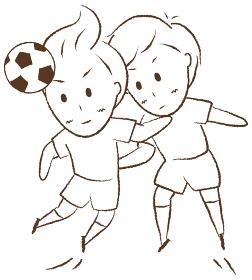 サッカーをする少年 空中戦