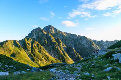 早朝の剱沢キャンプ場から望む剱の山々