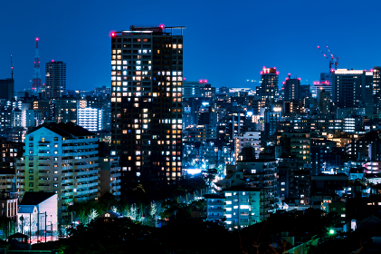 日本の地方都市、福岡市愛宕神社から望む夜景の美しいビル街の灯りと街並み